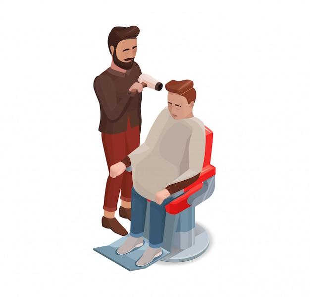 Barbeiro ou cabeleireiro pentear cabelo