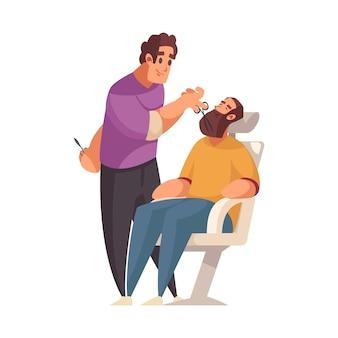 Barbeiro sorridente cortando a barba de homem