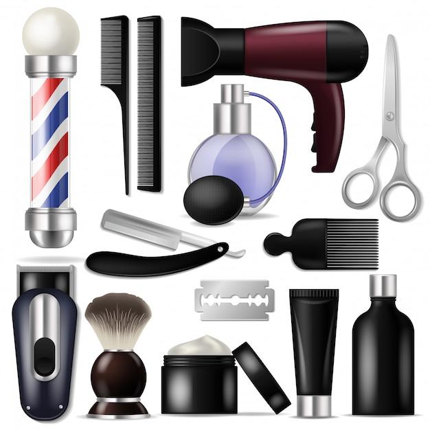 Barbeiro vector barbearia equipamentos ou cabeleireiro ferramentas para corte de cabelo ilustração conjunto de barbear