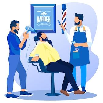 Barbeiros com ventilador e pente fazendo corte de cabelo do cliente