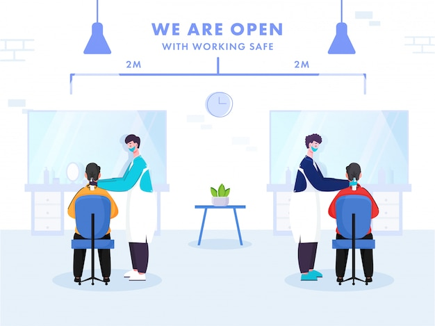 Barber men hair cutting para clientes manter distância de 2 metros para prevenir do coronavirus. estamos o cartaz aberto.