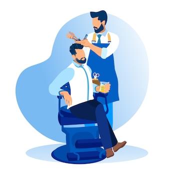 Barber styling client beard no salão de barbearia