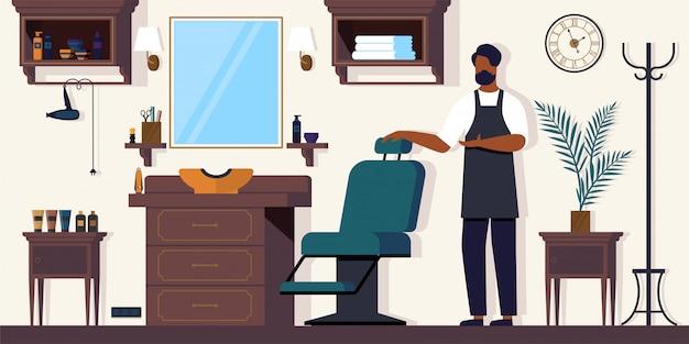Barber waiting client em barbershop, salão para homens