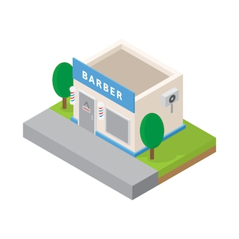 Barbershop isométrico buiding - vetor de barbearia