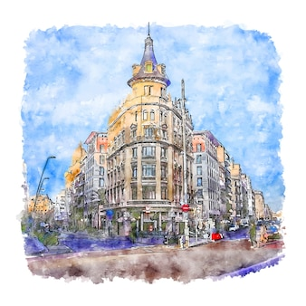 Barcelona espanha esboço em aquarela.