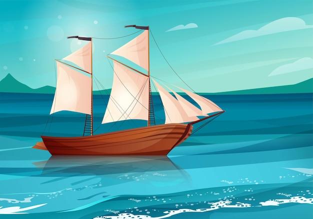 Barco à vela com bandeiras negras no mar. veleiro de madeira na água.