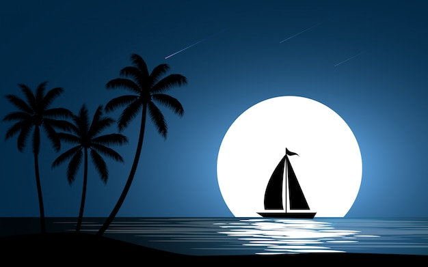 Barco à vela com lua cheia e palmeiras