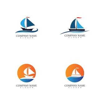 Barco à vela, cruzeiros diários, viagem marítima, logotipo-ícone de vetor
