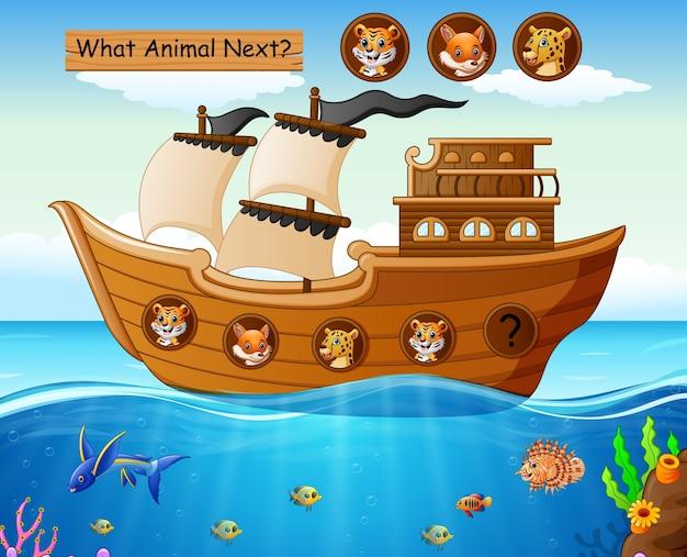 Barco a vela de madeira com tema de animais selvagens
