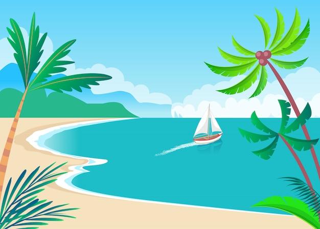 Barco à vela de transporte de água na ilustração à beira-mar