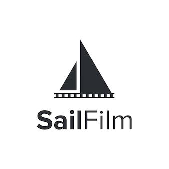 Barco a vela e filme simples, elegante, criativo, geométrico, moderno, design de logotipo