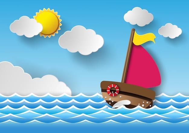 Barco à vela e nuvens