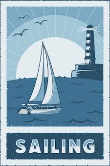 Barco à vela e pesca no mar cartaz de sinalização retro rústico clássico