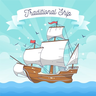 Barco à vela tradicional desenhado à mão