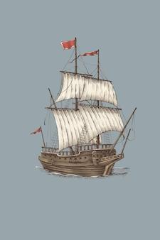 Barco à vela vintage pirata de madeira