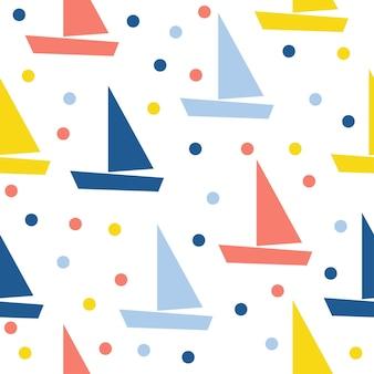 Barco abstrato sem costura de fundo. capa de aplicativo infantil simples para cartão de design, papel de parede, álbum, álbum de recortes, papel de embrulho de férias, tecido têxtil, impressão de bolsa, camiseta etc.