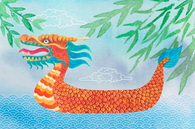 Barco com cabeça de dragão colorido e folhas