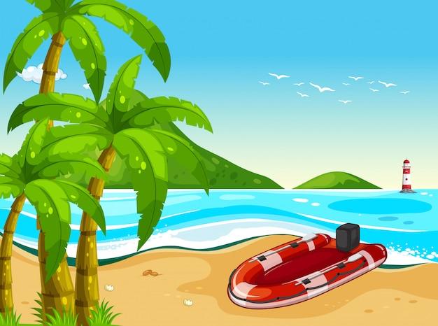 Barco de borracha na praia