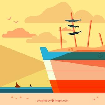 Barco de fundo com sardinhas em design plano