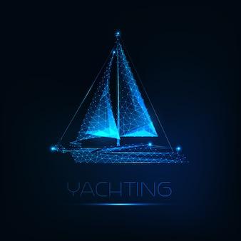 Barco de iate poligonal baixo brilhante futurista isolado em fundo azul escuro.