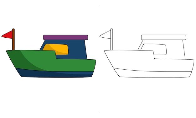 Barco de ilustração de livro de colorir infantil