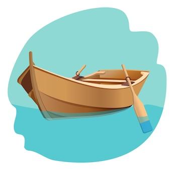 Barco de madeira com remos na ilustração vetorial de água azul isolada no branco. barco de pescador à vela com remos