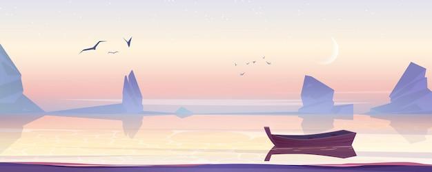 Barco de madeira no lago do mar ou paisagem de lagoa