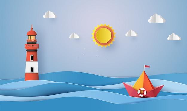 Barco de navigação de papel colorido, corte do papel e origami.