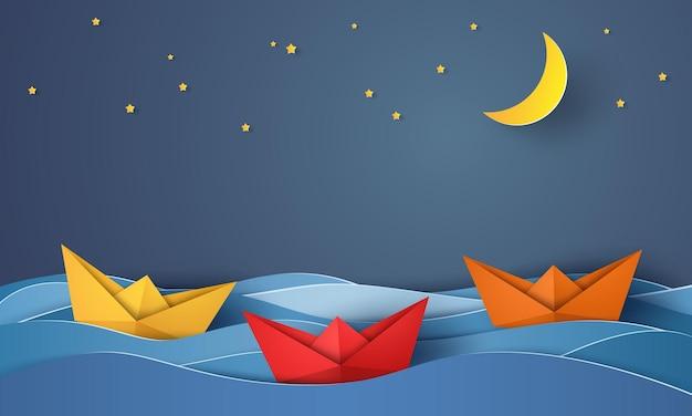 Barco de origami navegando no oceano azul à noite, estilo arte em papel