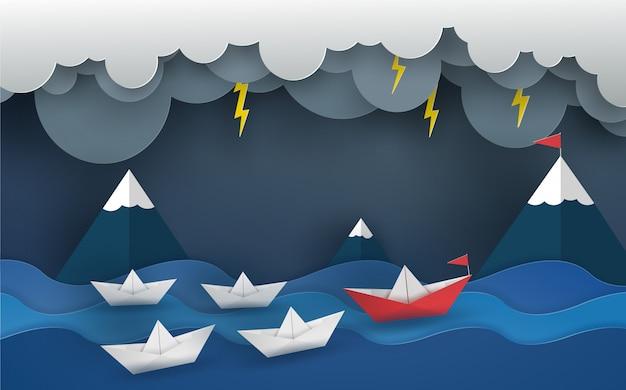 Barco de origami vermelho e equipe no oceano na onda com tempestade. projeto de ilustrador vetorial no conceito de corte de papel.