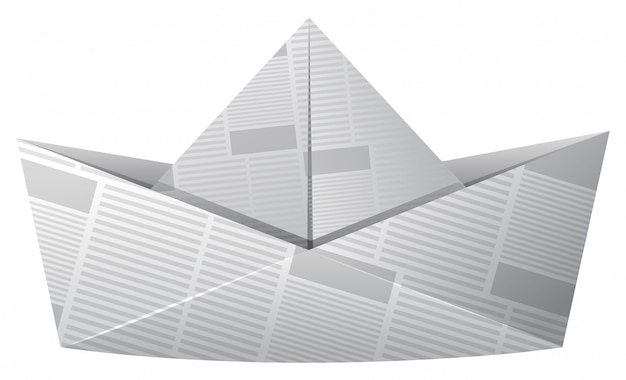 Barco de papel feito de jornal