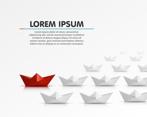 Barco de papel líder diferente, objeto vermelho. ilustração vetorial