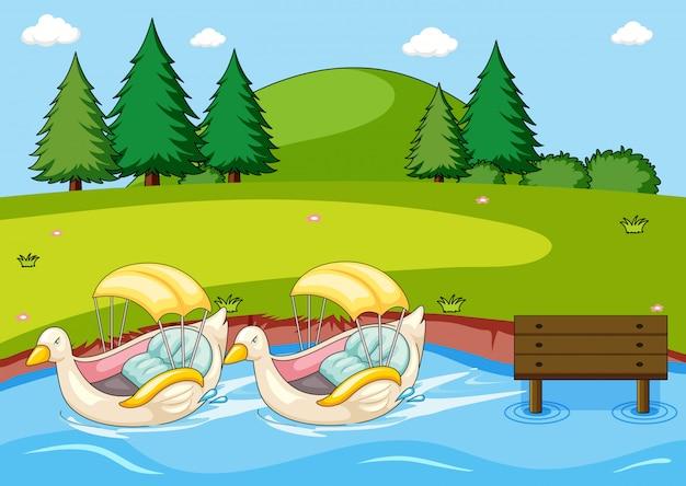 Barco de pato de remo no parque