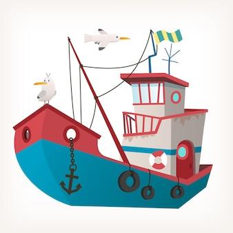 Barco de pesca enferrujado com âncora de equipamento de pesca e gaivotas voando sobre ele.