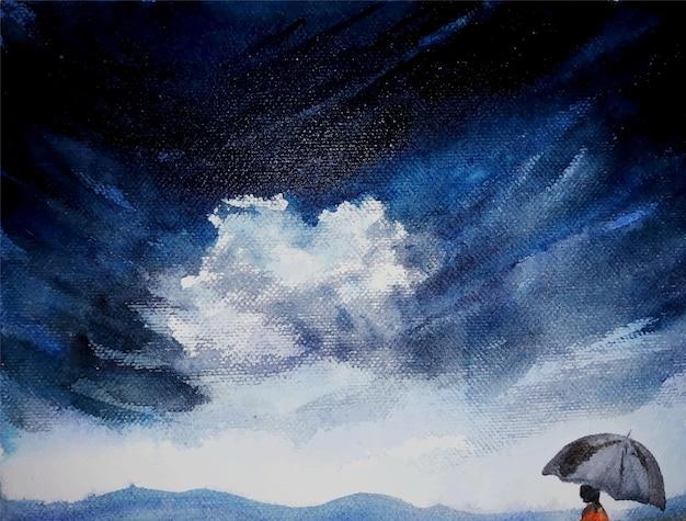 Barco de pintura de paisagem desenhado à mão no rio com aquarela sobre papel
