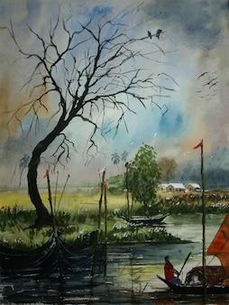 Barco de pintura em aquarela desenhado à mão no rio com ilustração de árvore