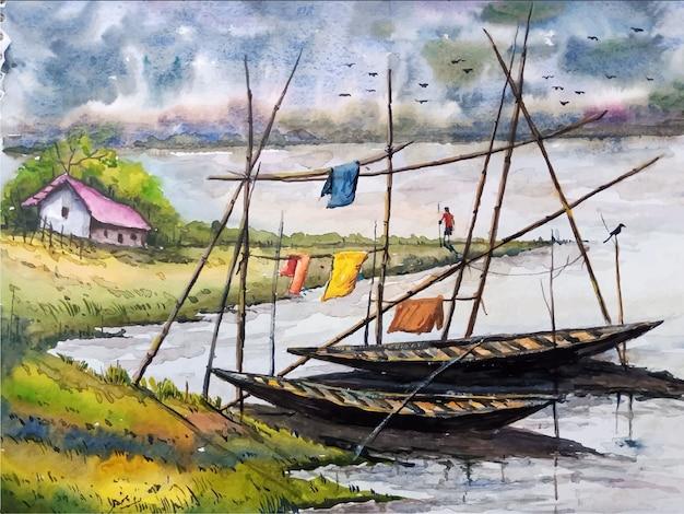 Barco de pintura em aquarela no mar com bela ilustração de paisagem de céu premium vector