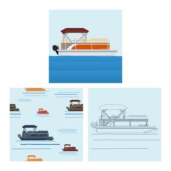 Barco de pontão editável