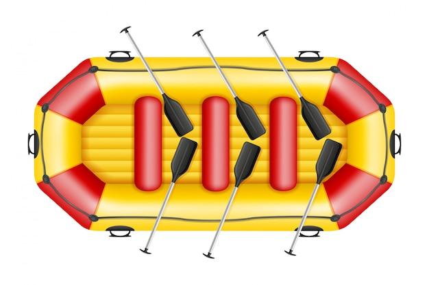 Barco de rafting inflável.