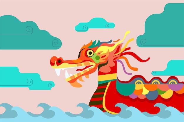 Barco dragão colorido no fundo de ondas