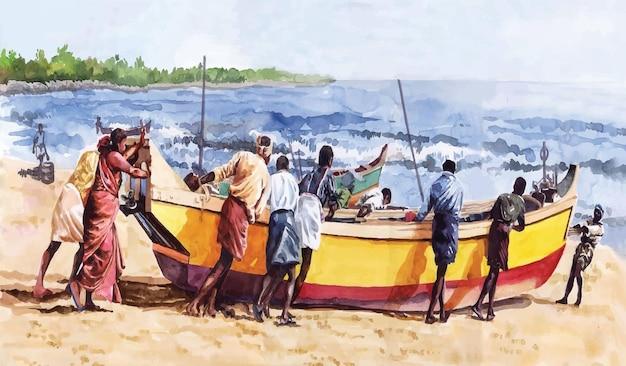 Barco em aquarela sobre a ilustração de mão desenhada do rio
