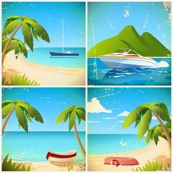 Barco na praia retro