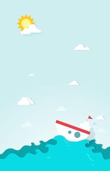 Barco no papel do mar
