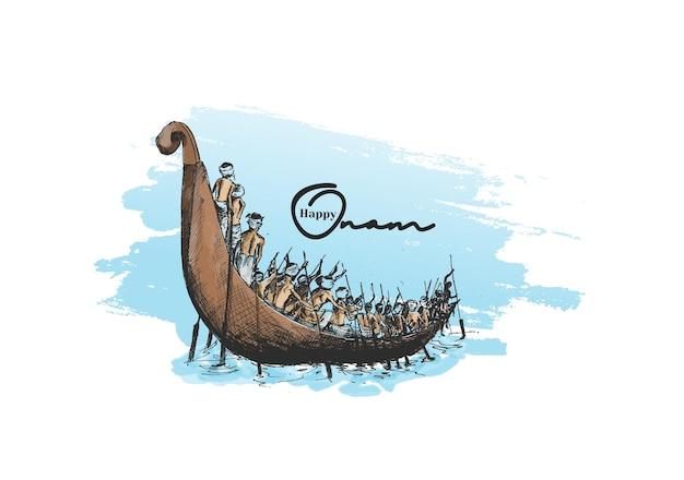 Barco no rio em fundo decorativo para o south indian festival onam