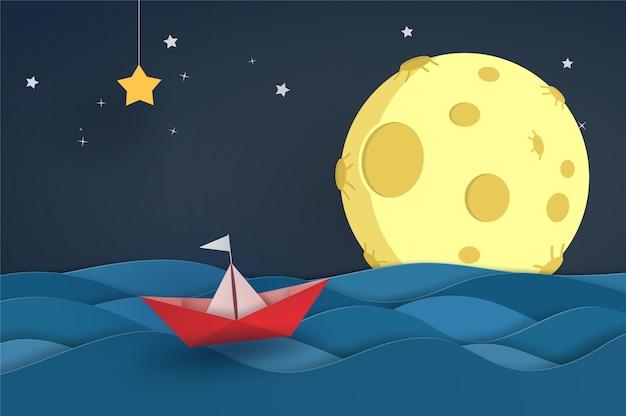 Barco origami vermelho no oceano na onda do mar com céu noturno e lua cheia. projeto de ilustrador vetorial no conceito de corte de papel.