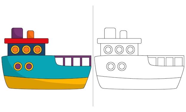 Barco patrulha de ilustração de livro para colorir infantil