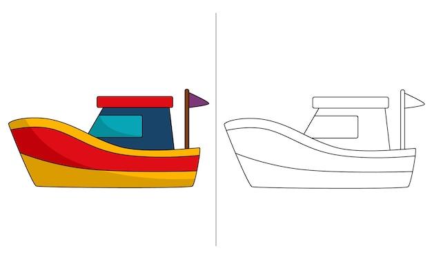 Barco pequeno com ilustração de livro para colorir infantil