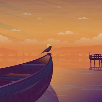 Barco pescador no mar