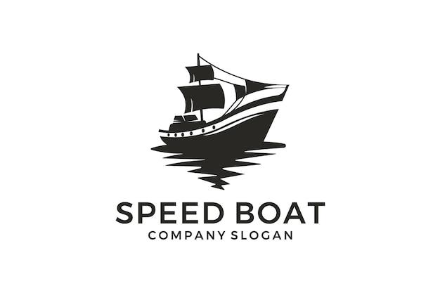 Barco rápido abstrato e ondas do oceano