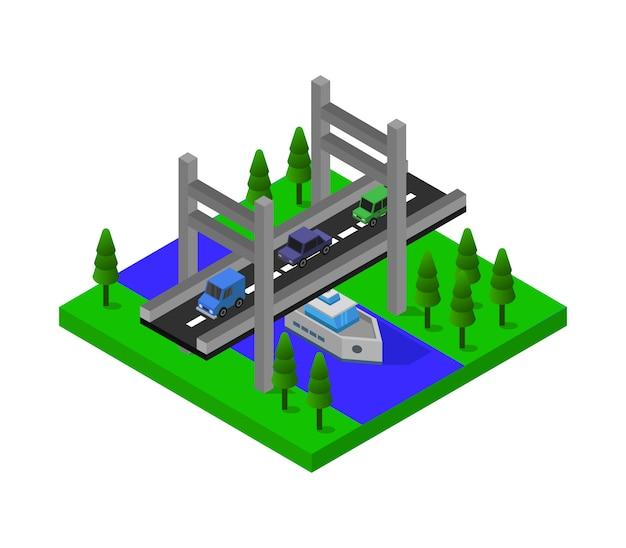 Barco sob ponte isométrica